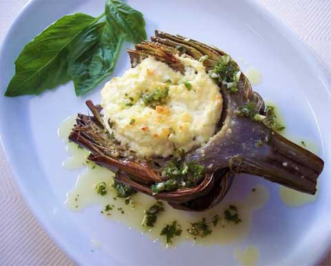 Herb-Stuffed Artichokes with Goat Cheese, Oregano and Lemon
