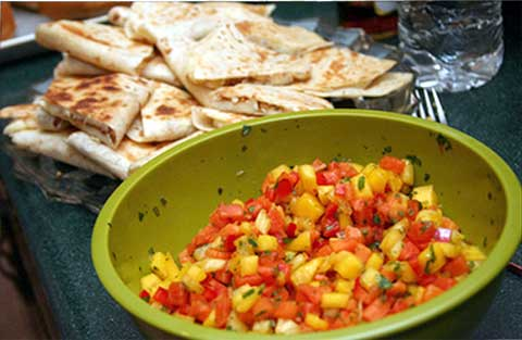 Brie Quesadillas with Fresh Fruit Salsa