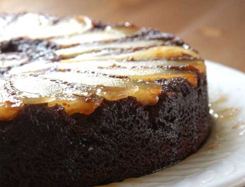 Upside-Down Pear Chocolate Cake with Whipped Cream