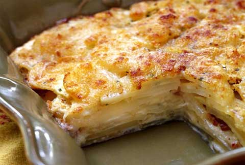 Celery Root and Potato-Fennel Gratin with Gruyere Cheese