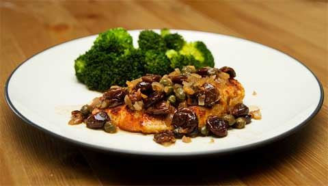 Chicken with Dried Cherries, Capers and Chiles