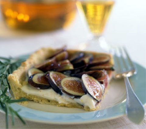 Fresh Fig Tart with Rosemary Cornmeal Crust and Lemon Marscapone Cream