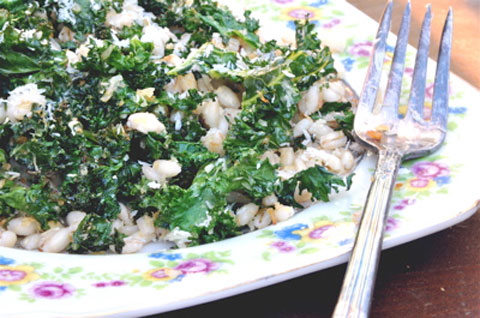 Toasted Kale and Coconut Salad with Farro and Sesame Oil