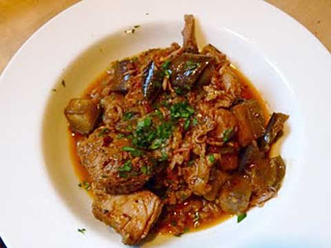 Tunisian Lamb-and-Eggplant Stew with Wheat Berries, Parsley and Harissa