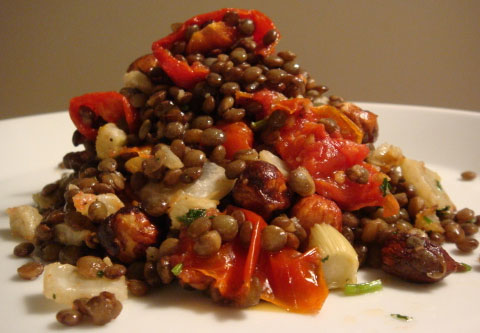 Lentils, Fennel and Olives, Roasted Parsnips