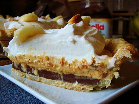 Banana Cream Pie with Fair-Trade Nutella and Chocolate Curls