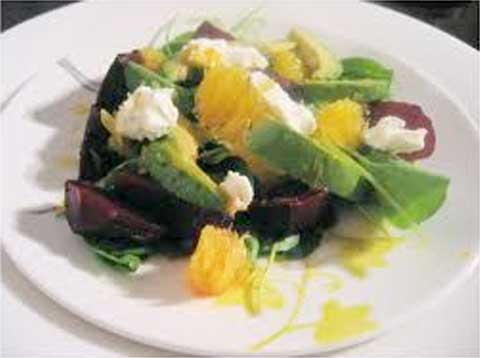 Mixed Greens with Roasted Beets, Avocado, Cara Cara Oranges, Queso Fresco