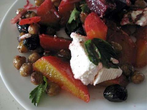 Roasted Beet Salad with Fried Chickpeas, Olives, and Goat Cheese