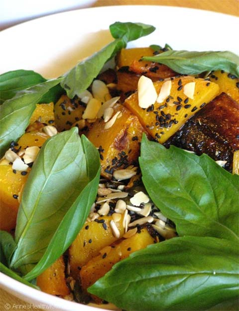 Warm Eggplant-Butternut Squash Salad over Spinach
