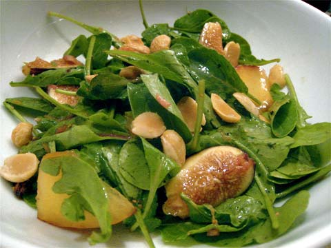 Summer Fig and Plum Salad with Arugula and Marcona Almonds