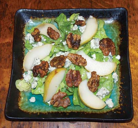 oston Salad with Pears, Blue Cheese and Toasted Walnuts with Maple Balsamic Vinaigrette