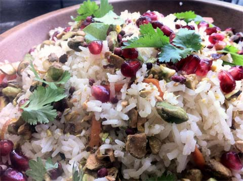 Pomegranate and Pistachio Rice with Spiced Butter