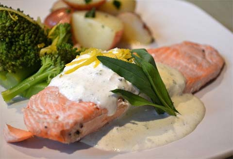 Cold Poached Salmon with Green Goddess Dressing