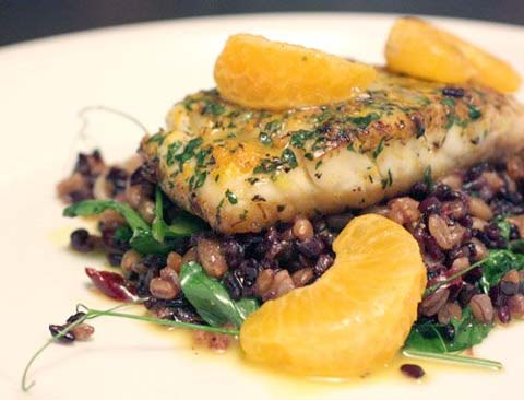 Leah's Farrotto with Red Snapper, Guanciale, Black Beans, Green Garlic, and Tangerines