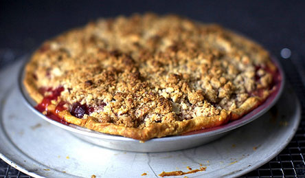 http://smittenkitchen.com/2010/07/sour-cherry-pie-with-almond-crumble/