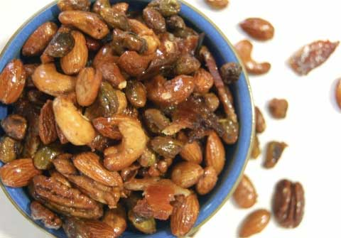 Spiced Nuts with Candied Bacon