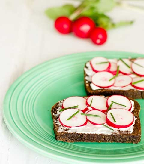 Spring Greens and Green Onions with Chive-Herb Butter Toasts and Radishes