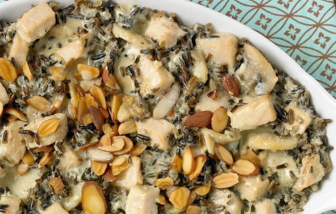 Wild Rice Casserole with Early Bird Turkey, Cremini Mushrooms and Mustard